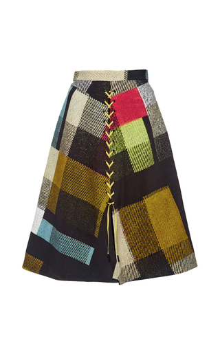 Medium preen multi astor button front check skirt