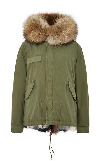Medium mr mrs italy green army patch fox fur lined mini parka