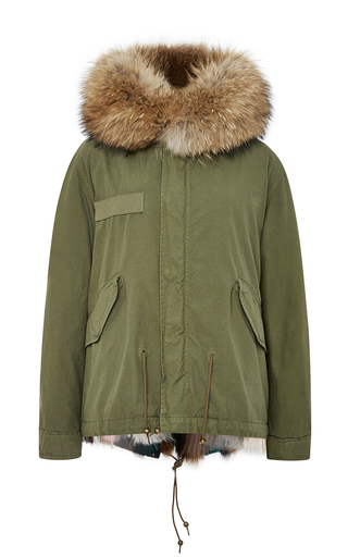 Medium mr mrs italy green army patch fox fur lined mini parka