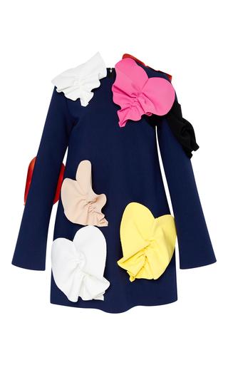 Medium msgm black double crepe dress with 3d hearts