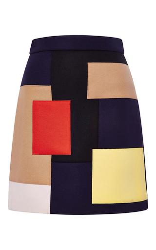 Medium msgm navy mulitcolored patchwork wool skirt
