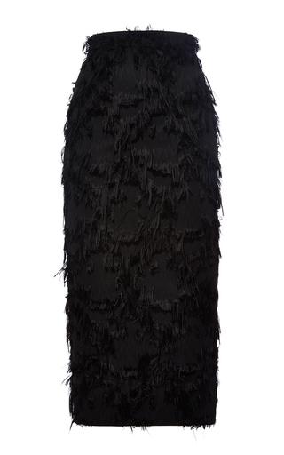 Medium msgm black black mid length textured pencil skirt