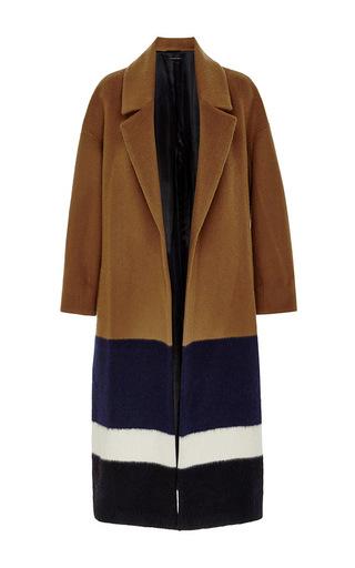 Medium mother of pearl multi brampton wool mohair striped wrap coat