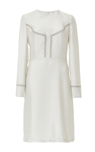 Medium vilshenko silver silk blend dress with trim detail