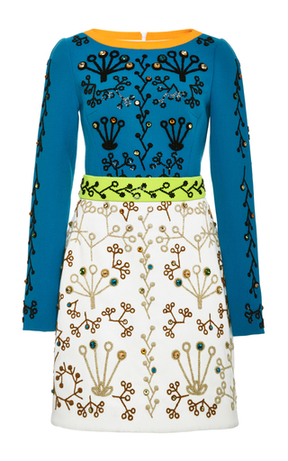 Medium peter pilotto blue wool cari dress with swarovski crystal embroidery