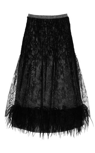 Medium rochas black chantilly lace pied de poule skirt