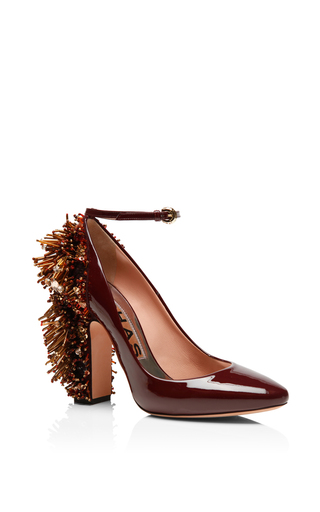 Medium rochas burgundy patent leather embellished heel pumps