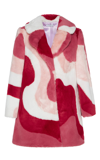 Medium vivetta pink faux fur gadda patterned coat