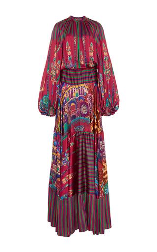 Medium stella jean print silk printed milwaukee bell sleeved maxi dress
