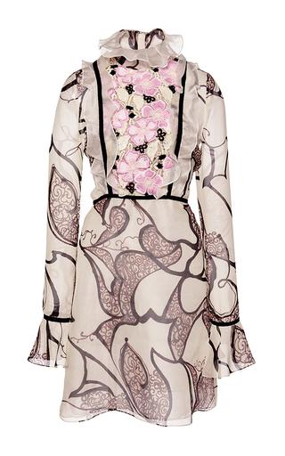 Medium giambattista valli print silk organza ruffle macrame panel dress