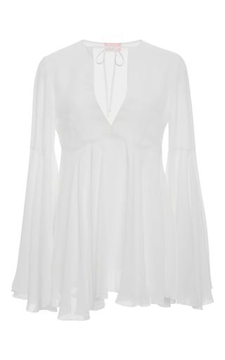 Medium giamba white white v neck bell sleeve top