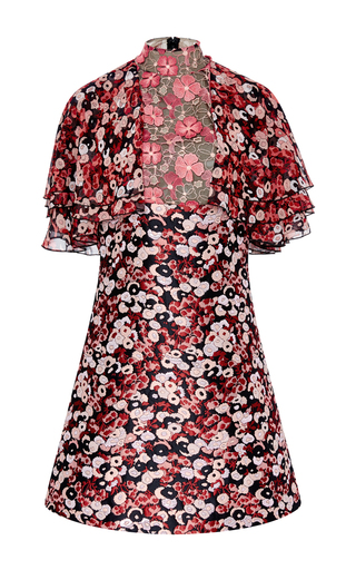 Floral Jacquard Mini Dress With Flounce Sleeves by GIAMBA Now Available on Moda Operandi