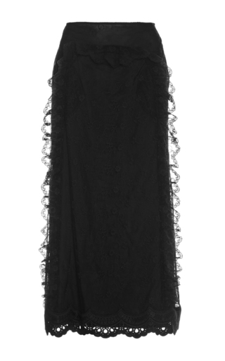 Medium simone rocha black black lace lined midi skirt