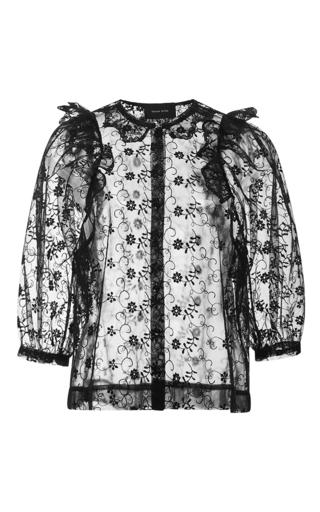 Medium simone rocha black sheer ruffle embellished lace blouse