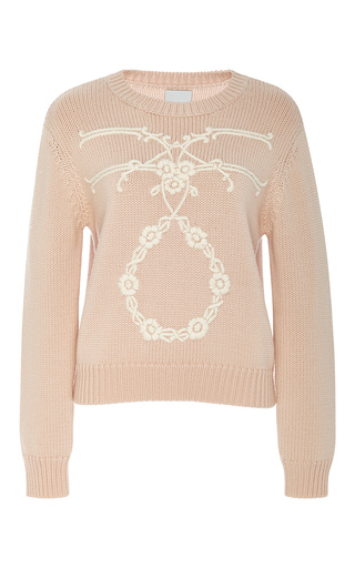 Medium karla spetic nude wool isabella hand embroidered sweater