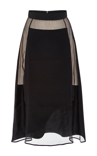 Black Silk Crepe De Chine And Organza Eleanor Skirt by KARLA ŠPETIC Now Available on Moda Operandi