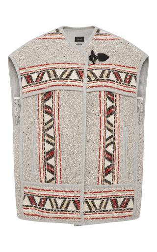 Medium isabel marant light grey wool linen blend tribal paneled diva vest