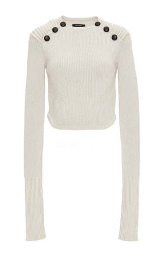 Wool Huston Cropped Knit With Shoulder Buttons by ISABEL MARANT Now Available on Moda Operandi