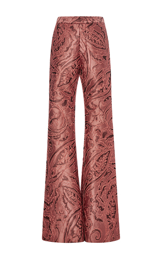 Medium ellery orange radical satin brocade bootleg pants