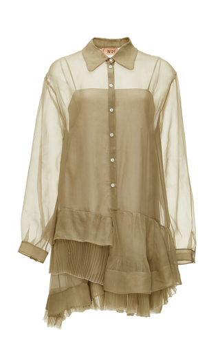 Medium no 21 neutral silk alida shirt dress with ruffles