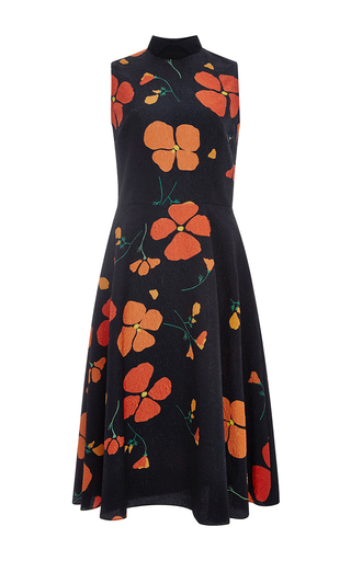 Medium rodarte black printed poppy wool blend sleeveless dress