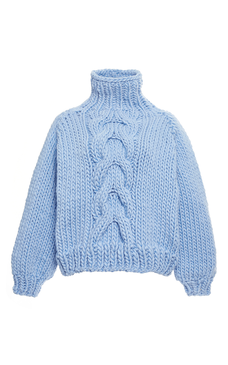 Blue Wool Cropped High Neck Cable Knit Sweater by I