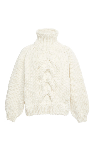 Medium i love mr mittens white white wool cropped high neck cable knit sweater