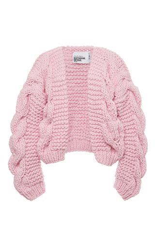 Medium i love mr mittens pink pink wool bomber chunky cardigan