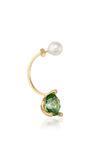 Gold Magic Triangle Earring With Green Topaz by DELFINA DELETTREZ Now Available on Moda Operandi