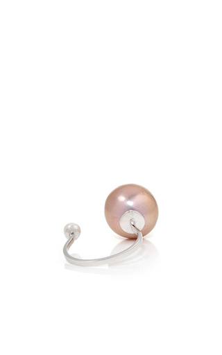 White Gold And Light Pink Pearl Ring by DELFINA DELETTREZ Now Available on Moda Operandi