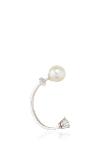 Diamond Dot Earring With Pearl by DELFINA DELETTREZ Now Available on Moda Operandi