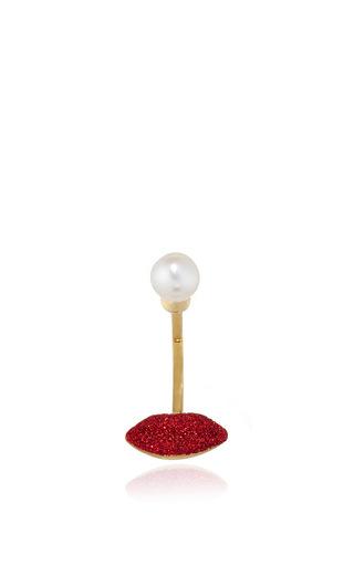 Medium delfina delettrez gold glittered lips pearl earring