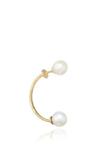 Gold Double Pearl Earring by DELFINA DELETTREZ Now Available on Moda Operandi