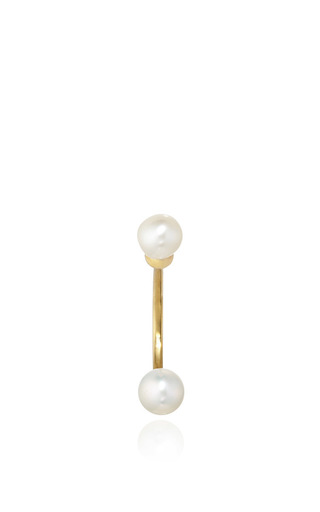 Medium delfina delettrez gold gold double pearl earring