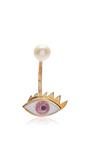Glittered Eye Pierced Earring by DELFINA DELETTREZ Now Available on Moda Operandi