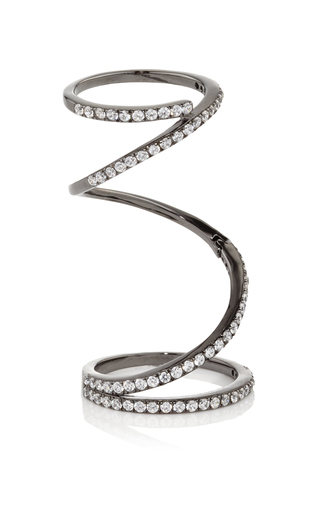 Medium fallon silver gunmetal pave ribbon ring
