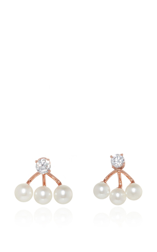 Medium fallon rose gold triple pearl ear jackets