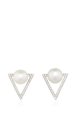 Medium fallon silver pave pearl and triangle earrings