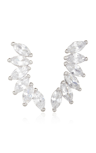 Medium fallon silver rhodium plated cubic zirconia marquis wing climber earrings