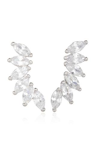 Medium fallon silver rhodium plated cubic zirconia marquis wing climber earrings