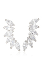 Rhodium Plated Cubic Zirconia Marquis Wing Climber Earrings by FALLON Now Available on Moda Operandi