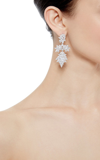 Rhodium Plated Cubic Zirconia Marquis Chandelier  Earrings by FALLON Now Available on Moda Operandi