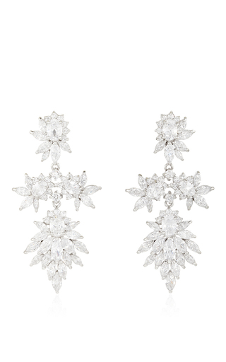 Medium fallon silver rhodium plated cubic zirconia marquis chandelier earrings