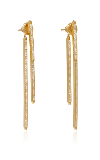 Gold Plated Convertible Tinsel Earrings  by FALLON Now Available on Moda Operandi