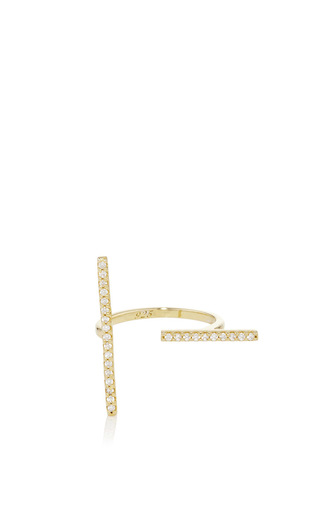 Gold Plated Cubic Zirconia Pavé T Bar Ring by FALLON Now Available on Moda Operandi