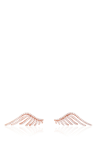 Medium fallon rose gold rose gold cubic zirconia crystal pave wing earrings