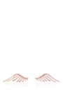 Rose Gold Cubic Zirconia Crystal Pave Wing Earrings by FALLON Now Available on Moda Operandi