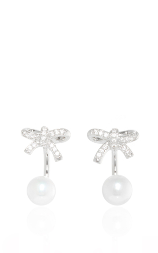 Medium fallon silver forget me knot convertible pearl earrings