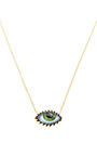 Gold And Enamel Eye Necklace With Lashes  by LITO Now Available on Moda Operandi