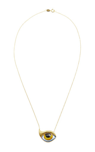 Gold And Canary Diamond Eyelash Teardrop Necklace  by LITO Now Available on Moda Operandi